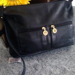NWT Black Leather Shoulder Bag